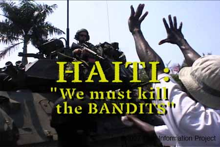 "Title frame from documentary: ""Haiti: 'We must kill the bandits'"""